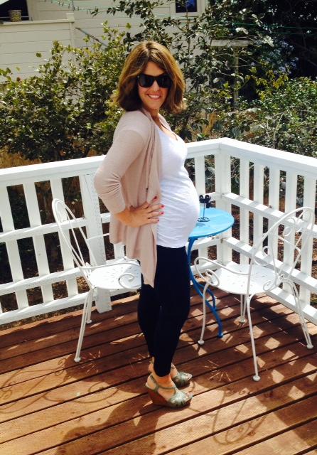 Target maternity jeans * Old Navy maternity top * LOFT cardigan  * Seychelles wedges