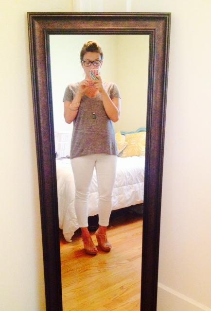 Target maternity jeans * Madewell tee * Seychelles Wedge
