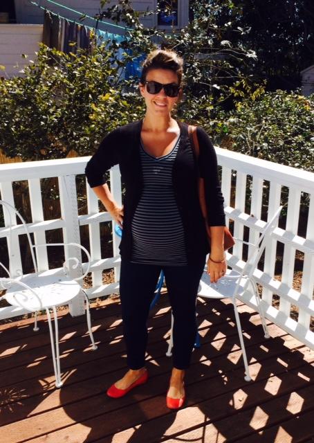 target maternity jeggings & target maternity top * loft boyfriend cardigan * jcrew red flats