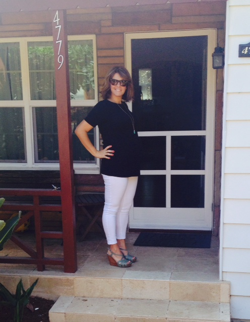 target maternity white jeans * old navy black tunic * seychelles seafoam wedges