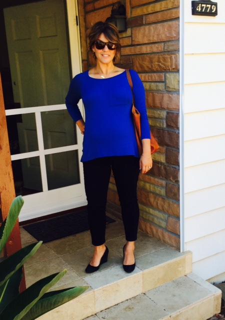 LOFT maternity skinny jeans * cobalt blue top * jcrew wedges