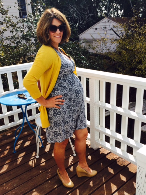 ASOS maternity dress * LOFT cardigan * 3rd trimester wear