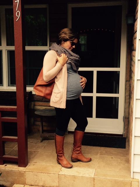 Cozy fall maternity wear