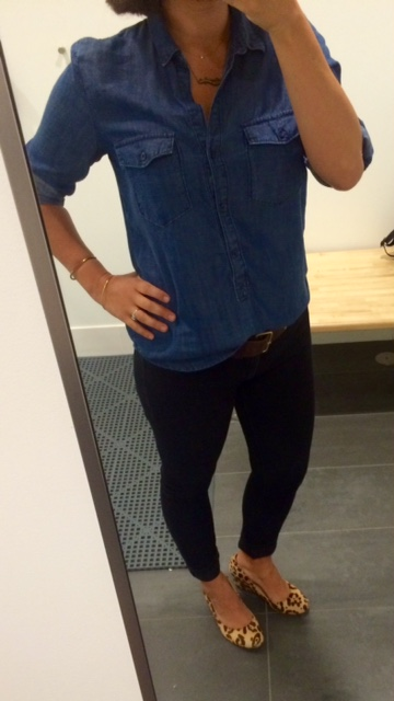 chambray, black jeggings, leopard wedges