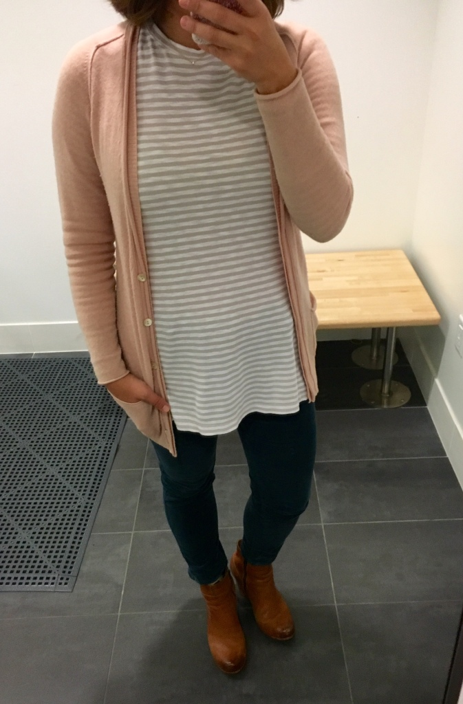 Green cords, striped tunic, pink cardigan