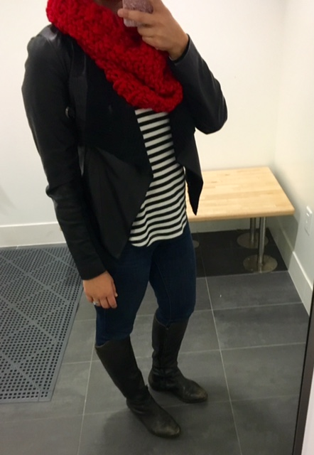 stripe shirt, vegan leather jacket, skinny jeans and black riding boots